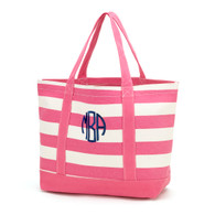 Hot Pink /Off White Stripe Canvas Tote Bag