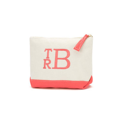 Coral Bag Stacked Monogram Font Coral Thread