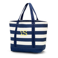 Navy  Stripe Monogrammed Tote Bag Monogram - Stacked Thread Color - Yellow