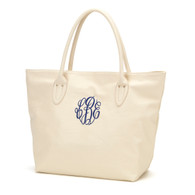 Crème Purse Master Circle Monogram Font Navy Thread