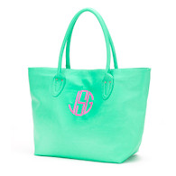 Mint Purse Circle Monogram Hot Pink Thread
