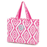 Hot Pink Aztec Beach Bag Master Circle Monogram Font Mint Thread