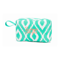 Mint Ikat Accessory Bag Classic Monogram Font  Name written in lower case Classic Font Coral Thread