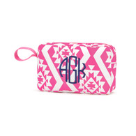 Hot PInk Aztec Accessory Bag Navy Thread Circle Monogram Font