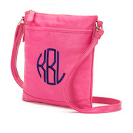 Hot Pink Crossbody Purse Circle Monogram Navy Thread