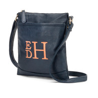 Navy Crossbody Purse Stacked Monogram Font Coral Thread