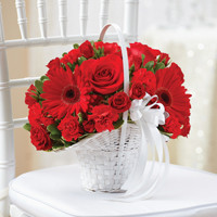 All Red Flower Girl Basket
