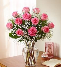 1 Dozen Roses Pink Rose Elegance Premium