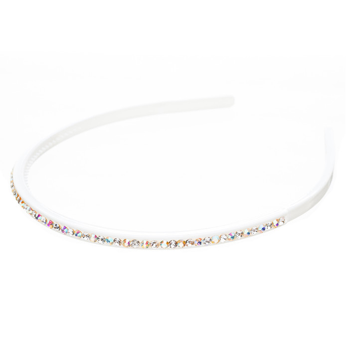 Fashion Sparkle Crystal Rhinestone Simple Linear Teeth Headband White Multi