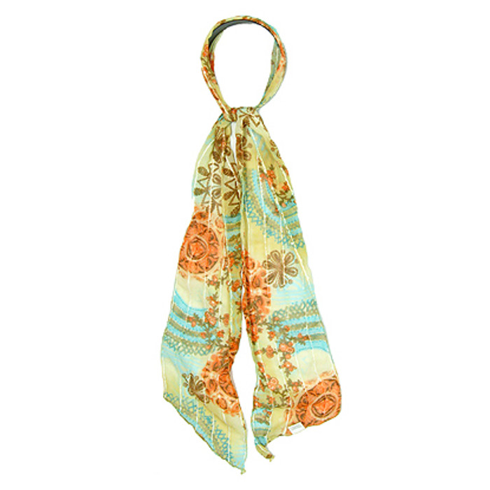 Fashion Scarf Look Headband Chiffon Paisely Blue Green