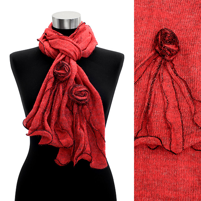 Corsage Decorated Ruffle Edged Scarf Red