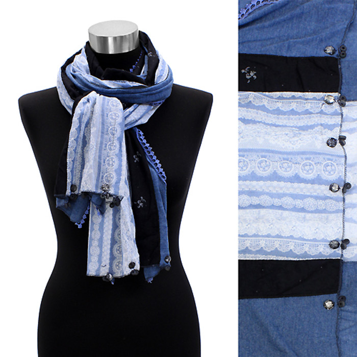 Hand Crafted Lace Design Fashion Scarf Navy Sky Blue