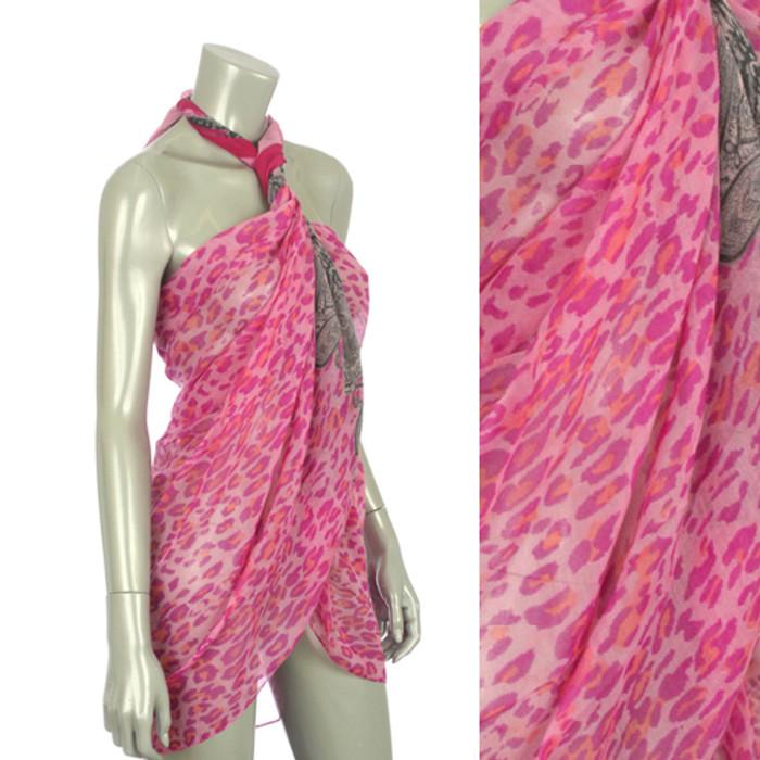 Beach Sarong Pareo Shawl Wrap Leopard Paisley Pink