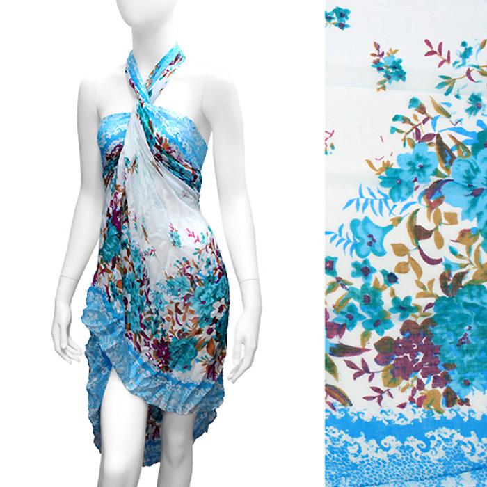 Beach Sarong Pareo Wrap Floral Design White Blue