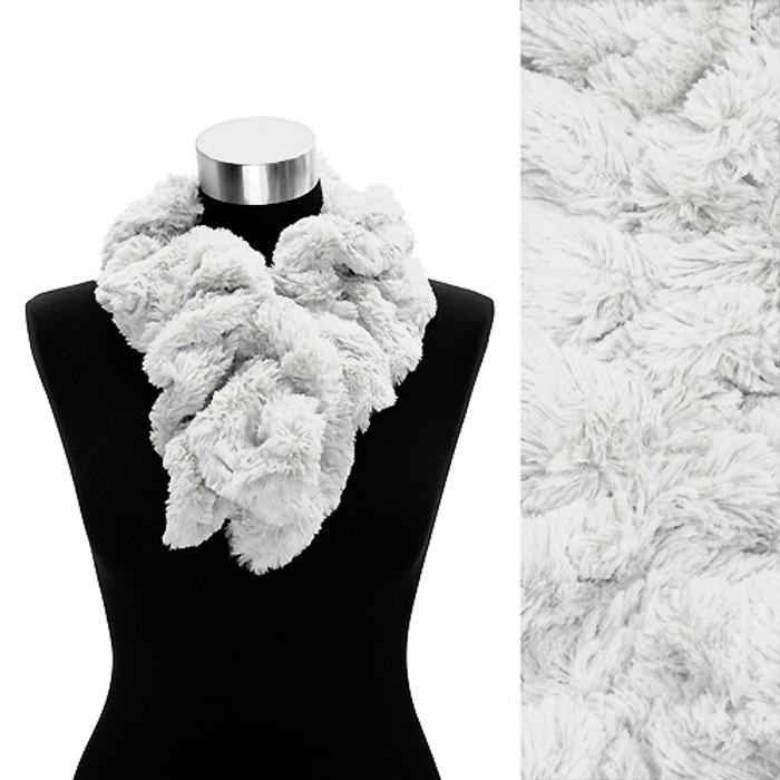 Solid Soft Faux Rabbit Fur Ruffle Pull Through Fashion Scarf White