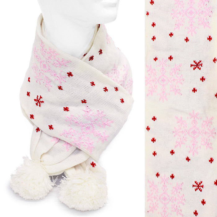 Snow Flakes Soft Cold Weather Fashion Scarf with Pompoms Pink Red Ivory