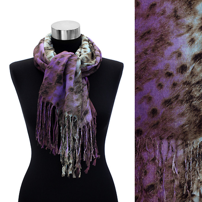 Leopard Animal Print with Fringe Fashion Trendy Scarf Purple