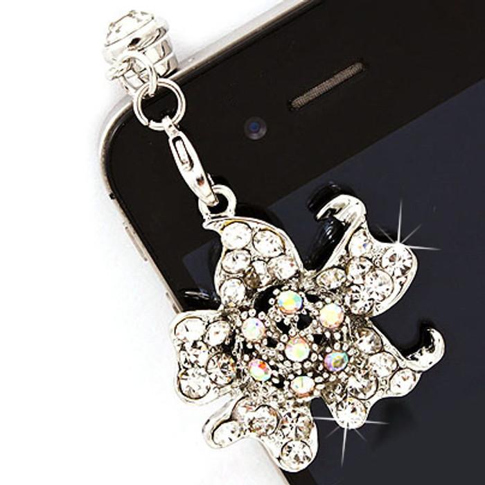 Earphone Dustproof Plug Stopper Phone Ear Cap Crystal Rhinestone Floral Silver
