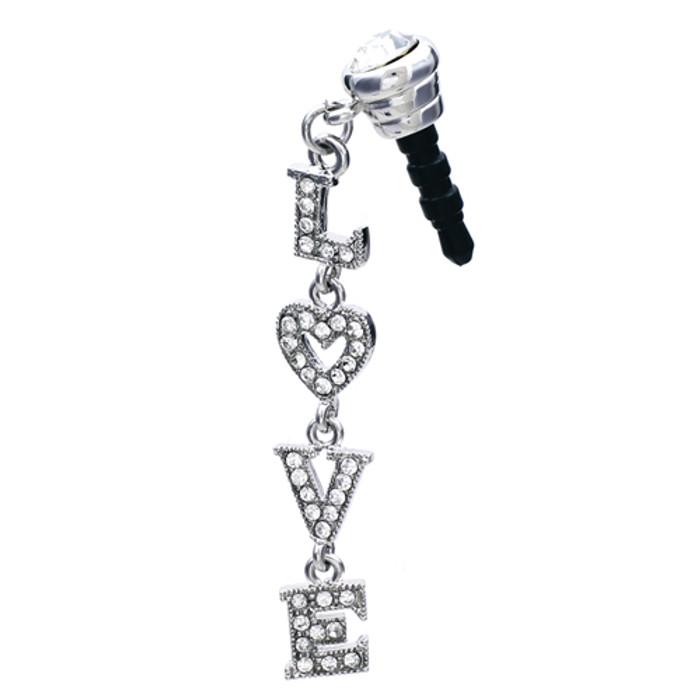 Earphone Dustproof Plug Stopper Phone Ear Cap Crystal Rhinestone LOVE Silver