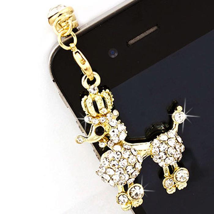 Earphone Dustproof Plug Stopper Phone Ear Cap Crystal Rhinestone Poodle Gold