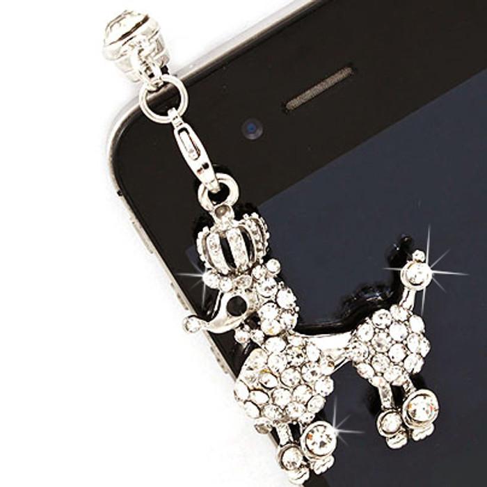 Earphone Dustproof Plug Stopper Phone Ear Cap Crystal Rhinestone Poodle Silver