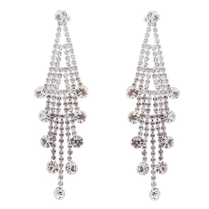 Bridal Wedding Jewelry Crystal Rhinestone Layered Linear Dangle Earrings Silver