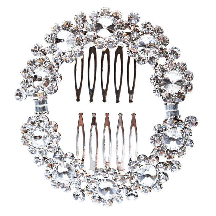 Bridal Wedding Jewelry Crystal Flower RD Wreath Magnetic Clasp Hair Pin Silver