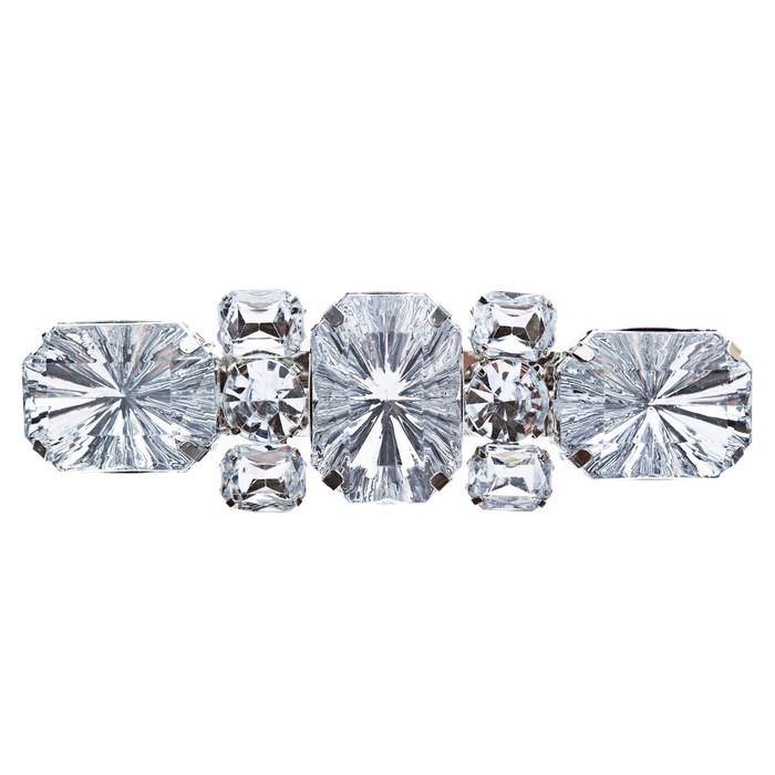 Bridal Wedding Jewelry Crystal Multi Shapes Cut Dazzle Hair Barrette Clip Silver