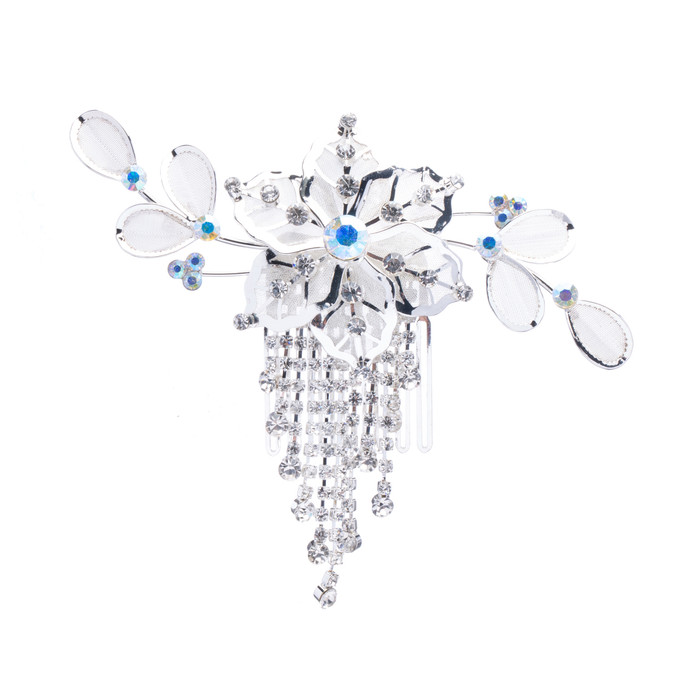 Bridal Wedding Jewelry Crystal Rhinestone Mesh Floral Dangle Drape Hair Comb Pin