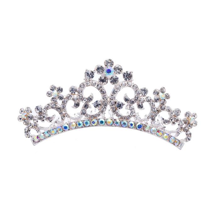 Bridal Wedding Jewelry Crystal Rhinestone Beautiful Floral Small Hair Tiara Comb