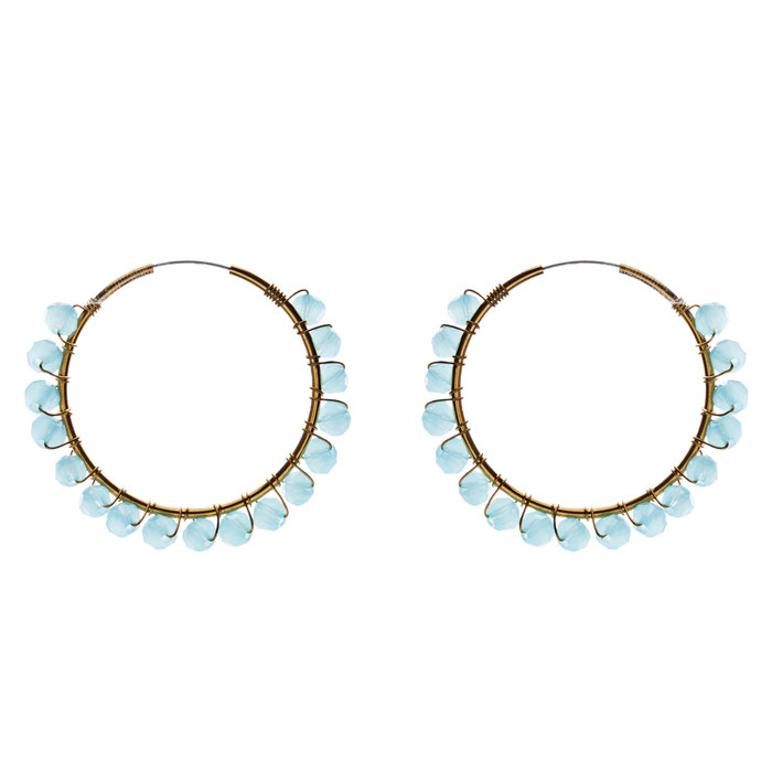 Crystal Wired Handmade Beautiful Fashion Dangle Hoop Earrings Gold Blue