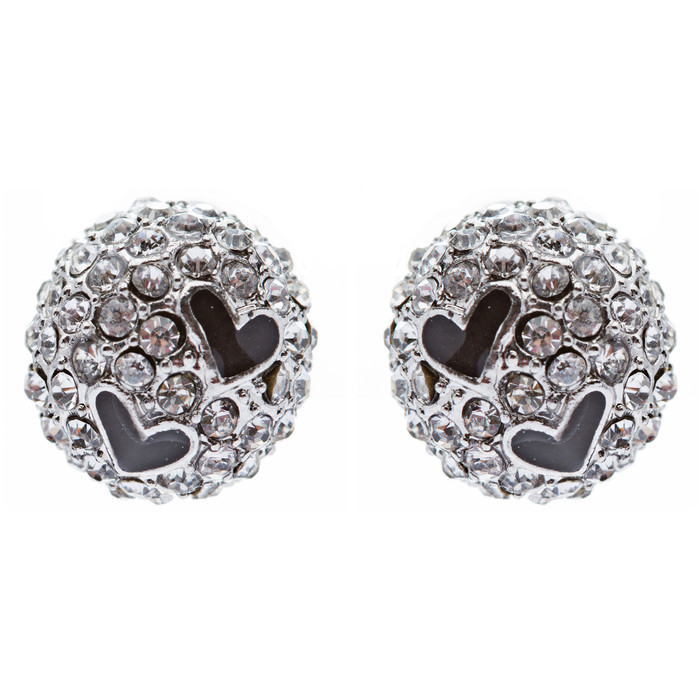 Adorable Sweet Crystal Rhinestone Heart Ball Fashion Stud Earrings Silver Clear