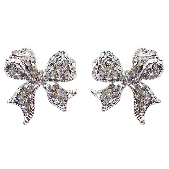 Beautiful Sparkle Ribbon Bow Crystal Rhinestone Fashion Stud Earrings Silver