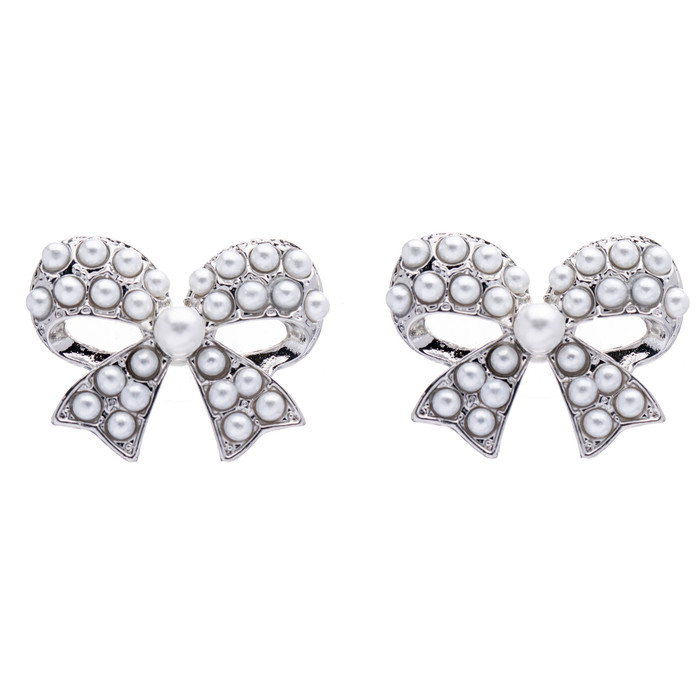 Beautiful Sparkle Ribbon Bow Crystal Rhinestone Pearl Stud Earrings Silver White