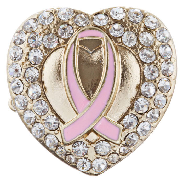 Pink Ribbon Breast Cancer Awareness Jewelry Crystal Heart Stretch Ring Gold H2