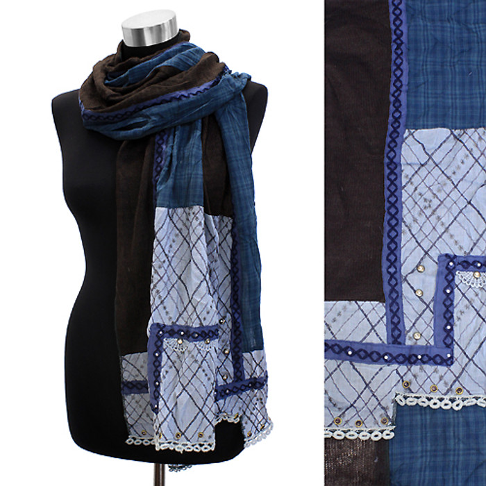 Square Corner Hand Crafted Fashion Design Scarf Blue