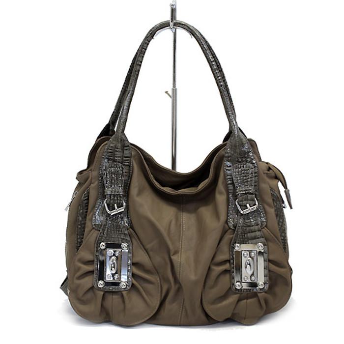 Leatherette Alligator Strap Buckle Decorated Tote Handbag Bag Charcoal Brown