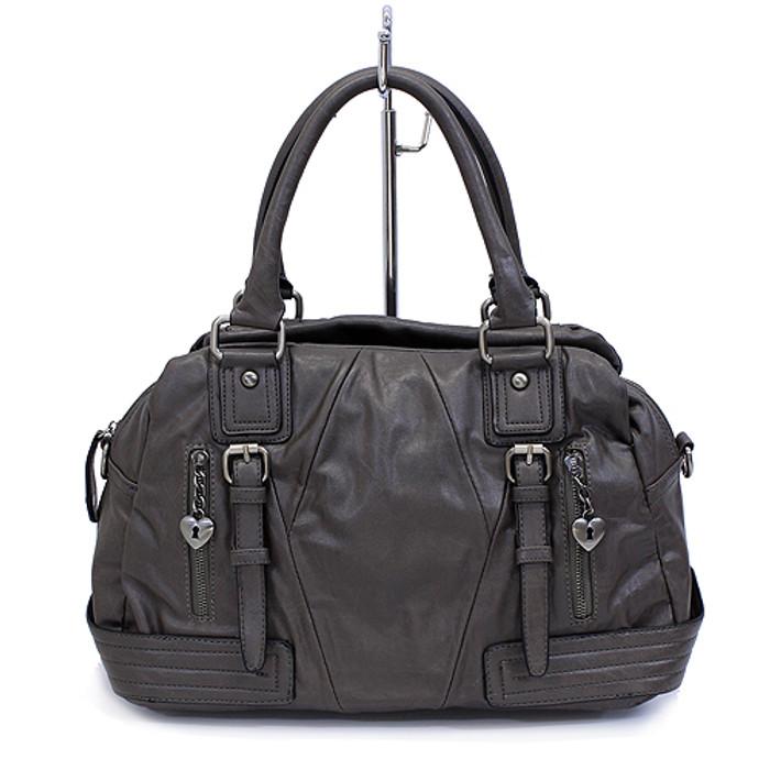 Leatherette Faux Leather Tote Shoulder Handbag Fashion Bag Taupe Dark Gray