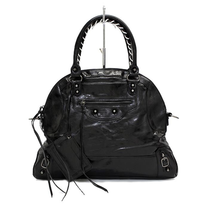 Faux Leather Leatherette Tassels Washing Design Flat Satchel Handbag Bag Black