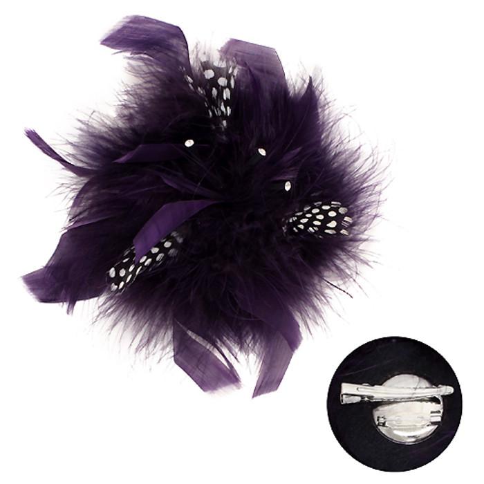 Feather Big Flower Corsage Fashion Brooch 2 Way Hair Pin Beautiful Purple