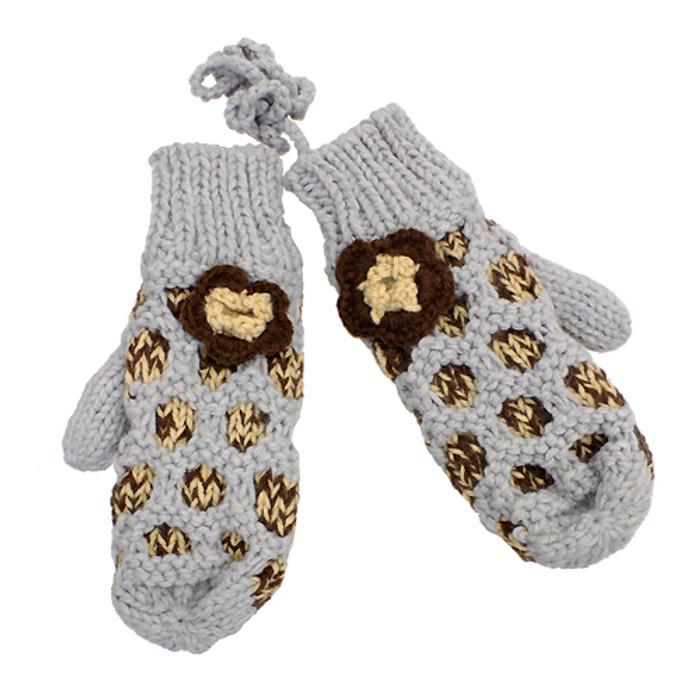 Hand Knitted Mitten with Shoulder Strap Fleece Liner Brown Beige Flower Gray