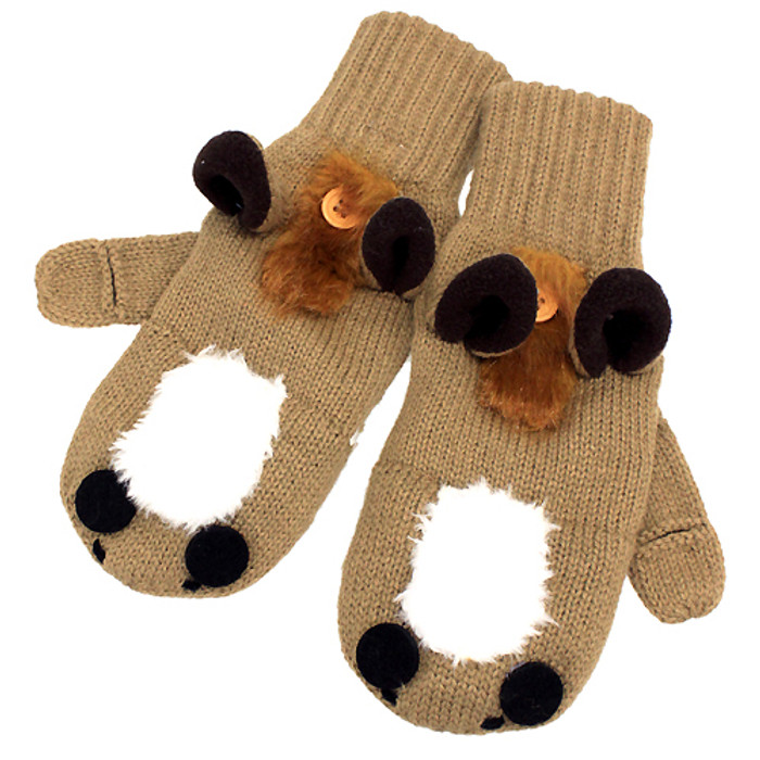 Knitted Fun 3D Animal Soft Mittens Gloves Camel Horse