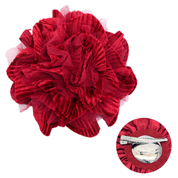 2-Way Velvet Big Flower Corsage Brooch Hair Pin Red