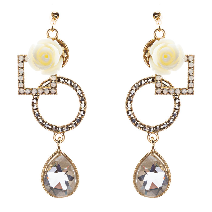 Semiprecious Flower & Crystal Drop Earrings Gold