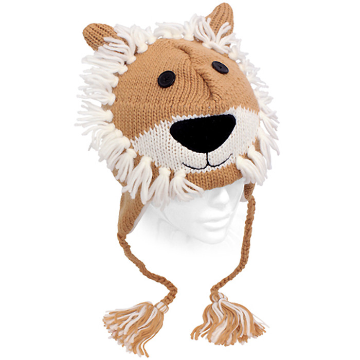 Knitted 3D Animal Trooper Trapper Hat Ear Flaps Braided Tassels Camel Lion