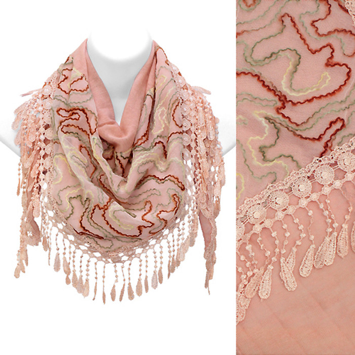 Duo Layer Abstract Design Lace Drop Triangle Fashion Scarf Pink