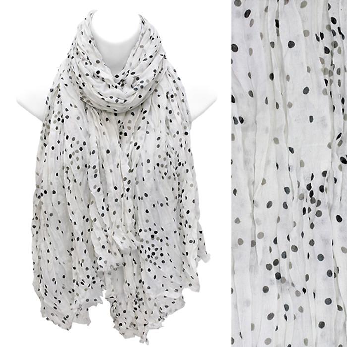 Multi Color Dot Print Wrinkle Shawl Fashion Scarf White
