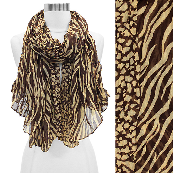 Duo Animal Print Pattern Crinkled Fashion Scarf Brown