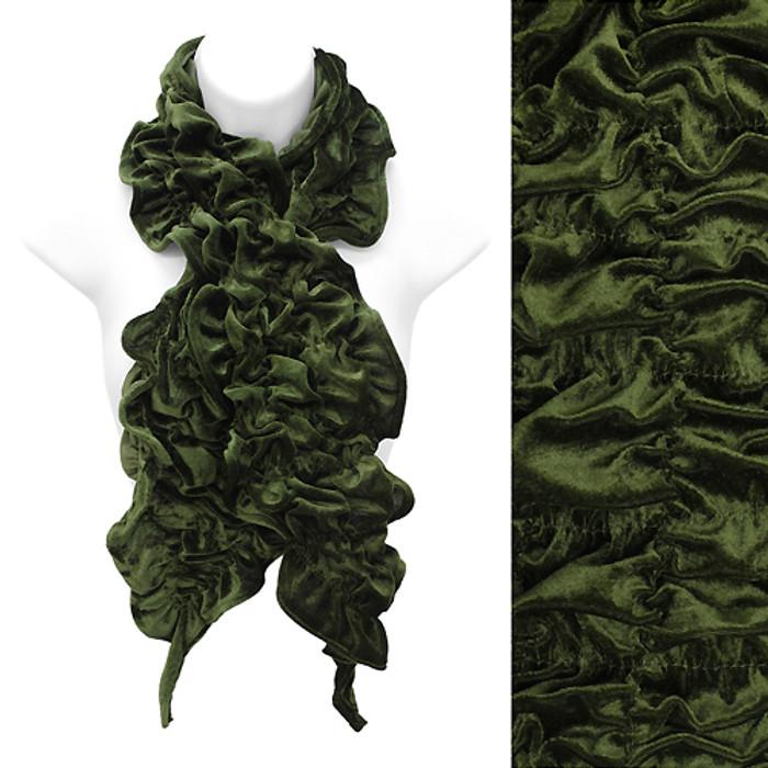 Silk Feel Velvet Stretch Ruffle Fashion Scarf Soft Glamorous Beautiful Green GN