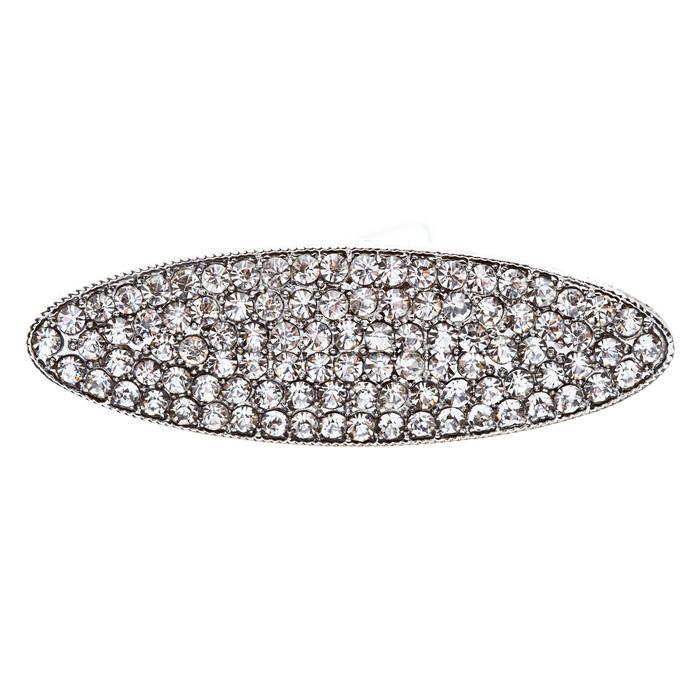 Bridal Wedding Jewelry Crystal Rhinestone Simple Oval Design Hair Pin Silver
